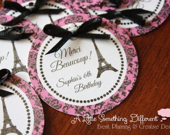 Warm Pink and Black Damask Parisian Favor/Thank you Tags