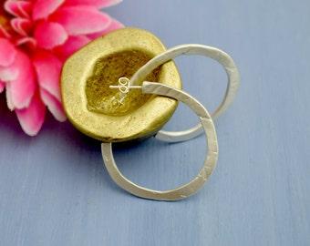 sterling silver 925 earrings,  flat circle earrings, for her