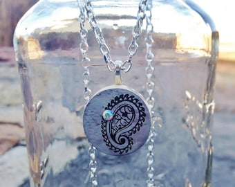 Upcycle Lavender Paisley Wine Cork Pendant Necklace