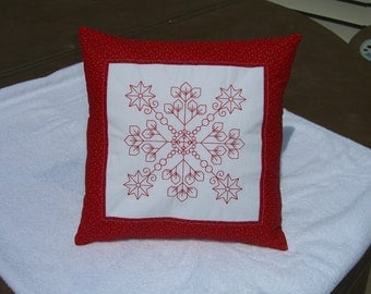 Redwork quilted pillow