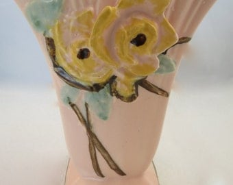 Vintage McCoy wild rose line small pink floral vase with yellow roses. C. 1952