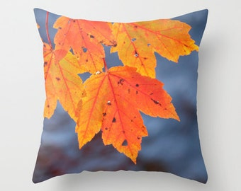 Orange Leaves, Pillow Cover, 16x16, home decoration, Maple, macro, orange, fall decoration, botanical