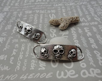 50pcs Antique Silver Base Metal Charms-Skull pendant / Skull connector charms pendant 40X12mm--Suitable for necklaces and bracelets--CP82