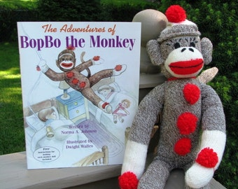 Sock Monkey Doll and Book Gift Set Handmade Brown BopBo the Monkey