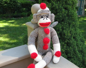 Original Brown Sock Monkey Doll BopBo the Monkey Plush