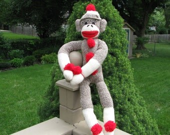 Children's Brown Sock Monkey Doll Handmade BopBo the Monkey