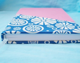 Pink and Blue Geometric Handbound Notebook, Hardcover, Blank or Lined Pages, Ribbon Bookmarker