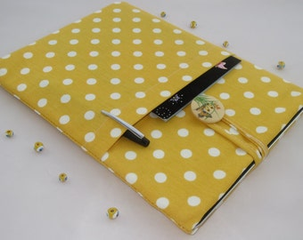 13 inch MacBook Pro Sleeve, MacBook Case 13 inch Padded Laptop Sleeve for Pro, Air or Retina Display,Yellow  Polka Dots