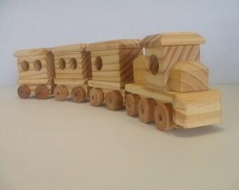 Wooden toy passenger train with diesel locomotive