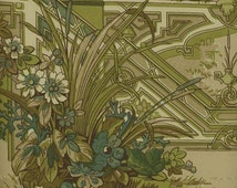 Pierre Deux French Country Oriental Garden Wallpaper - Gate, Floral, Taupe, Blue, Green, Designer - BY THE YARD - Dpx24318