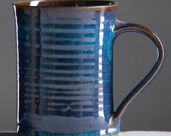 Ceramic Mug with unique Blue Glaze finish- Handmade Pottery Wheel Thrown