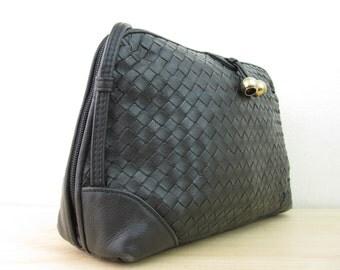 Black Woven Leather Shoulder Bag Purse 80s