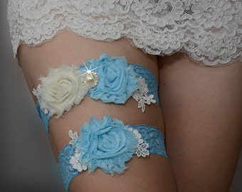 blue bridal garter set, wedding garter, bride garter, chic rosette garter, shabby rosette garter, toss garter, something blue garter