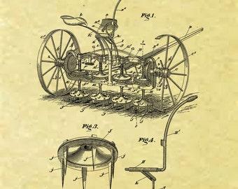 8.5 x 11 reproduced Rotary Wheeled Harow Patent 1893