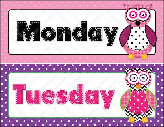 Days Of The Week Calendar Cards Owl Polka Dot By
