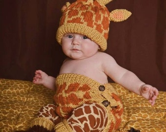 Knit Baby Giraffe Diaper Cover and Hat set with optional booties