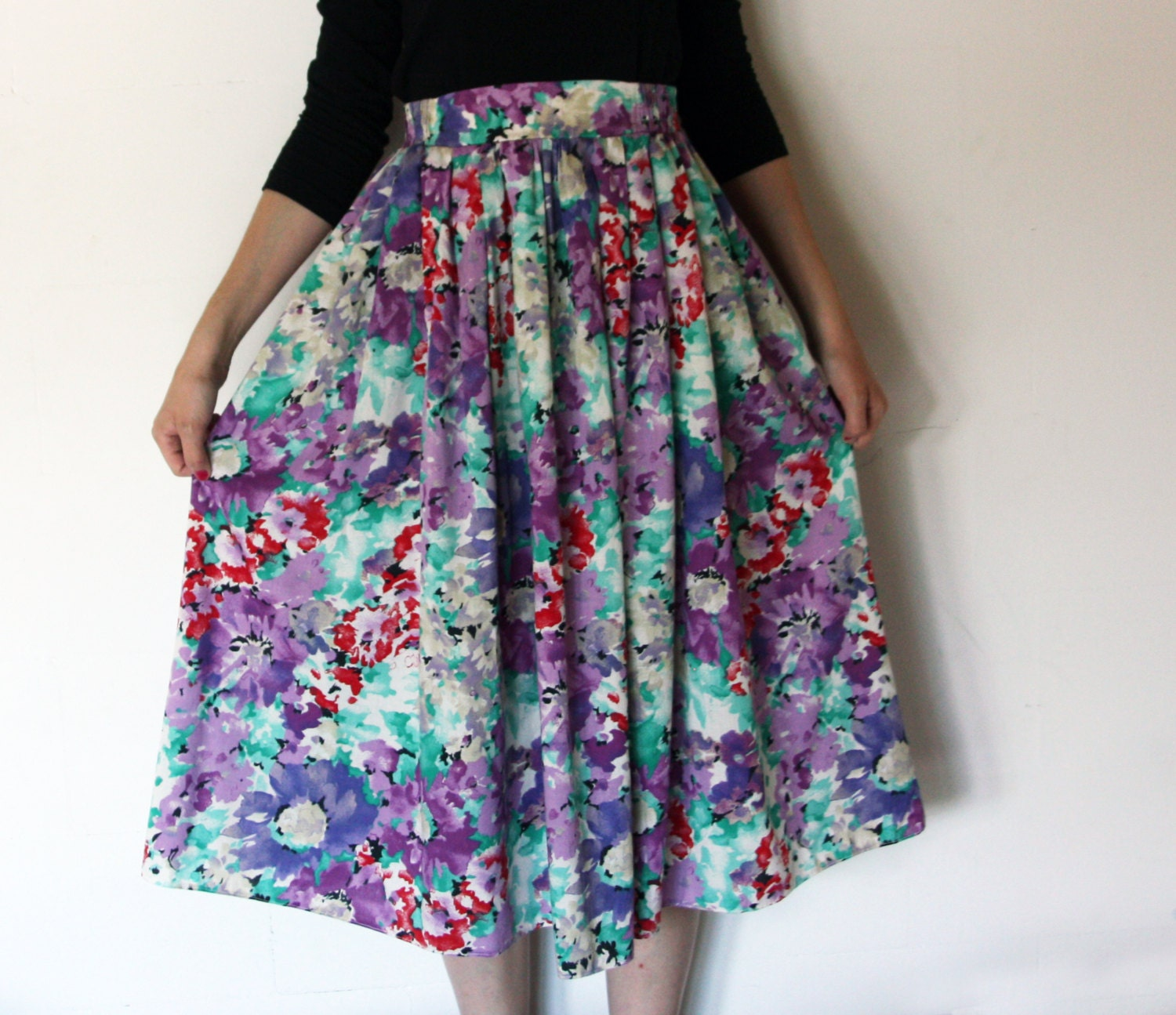 80 s floral watercolor pattern midi skirt violet green