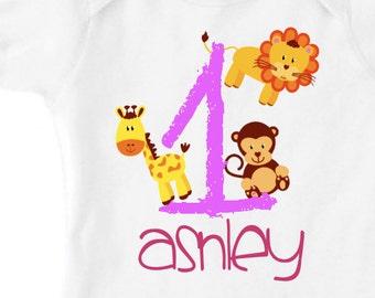 Girls one year old baby animals birthday shirt, personalized one year old baby animals bodysuit or creeper, girls style
