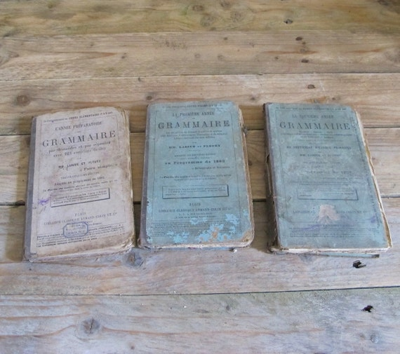 3 old french grammar school books antique 1886 first edition. Black Bedroom Furniture Sets. Home Design Ideas