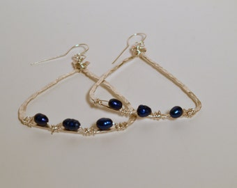Hammered Silver w/ Freshwater Pearls Earrings