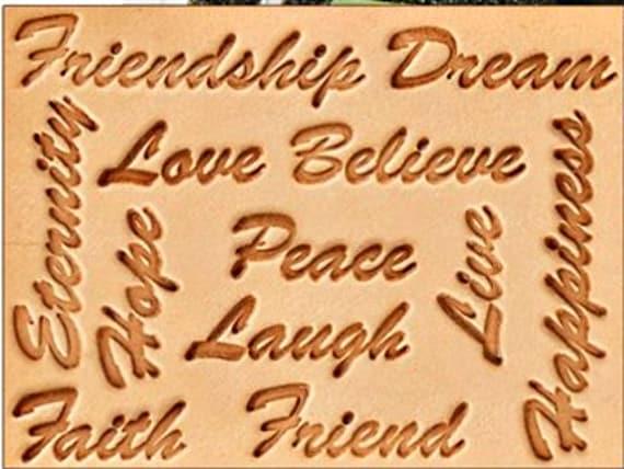 Inspiring Words Leather Stamp Set 12 Words Handle