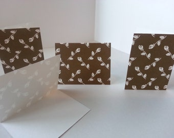 Set of 4 - Brown with White Roses Folded Gift Tags