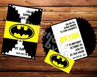 Batman inspired Invitations. Super hero invitations Handmade invitations. Personalized invitations.