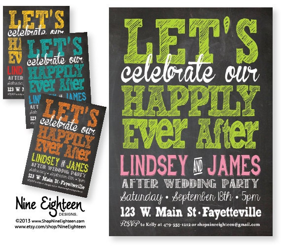 After Party Wedding Invitations: After Wedding Party Invitation. Let's Celebrate By