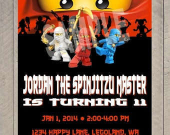 Personalized Ninjago Birthday Party Digital Printable Invitation