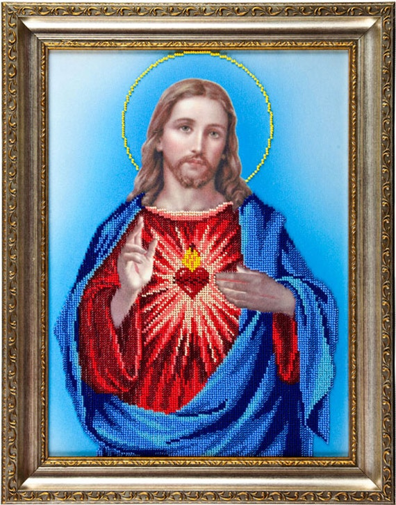 Sacred Heart of Jesus, icon, religious picture, beading on needlepoint kit, DIY beadpoint, bead embroidery DIY kit