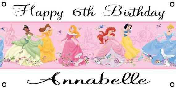 Personalized birthday banner - 4ft x 2ft - Disney Princess, cinderella, etc