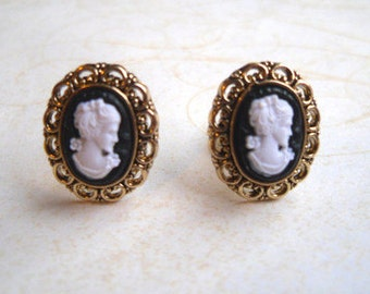 Gold Filigree Edge Black & White Ornate Cameo Earrings, Victorian, CUTE
