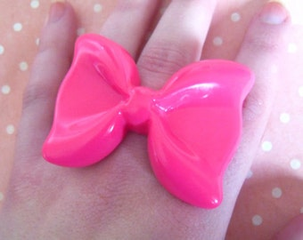 Cute Large Kawaii Pink Resin Bow Cabochon Ring, Kitsch, Retro, Quirky, Barbie, Girly, Fashion