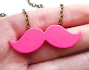 Cute Pink Moustache Necklace, Movember, Mustache, KiTsCh, Geekery, Geek Chic, Nerd