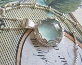 AQUA CHALCEDONY NECKLACE - Sterling Flower and Leaf Bezel - Sterling Silver Chain - Rose Cut Gemstone Pendant