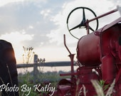 Antique Red Tractor at Sunrise - MakeOneForMeToo