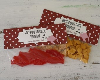 Valentine Bag Toppers - Printable - Instant Download - Great Catch