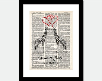 Giraffe Couple with Hearts Customized with Couple Name and Date - Wedding Shower - Anniversary - Couples Gift  - Dictionary Art Print