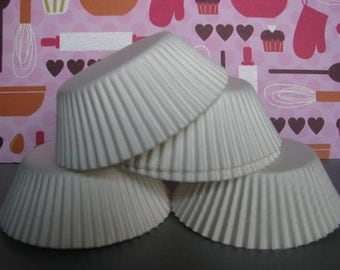 50 Premium Solid White Cupcake Wrapper/ White Baking Cups/ White Cupcake Liners