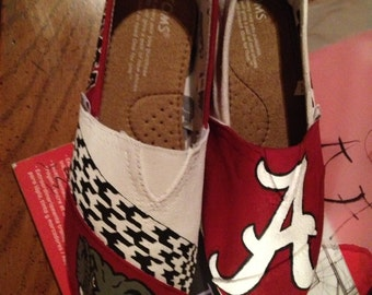 Hand Painted Alabama Toms- NOTE: Personalized to any design, college, or character(s) you want