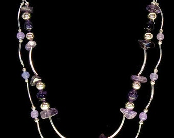 Amethyst and Silver necklace and earrings