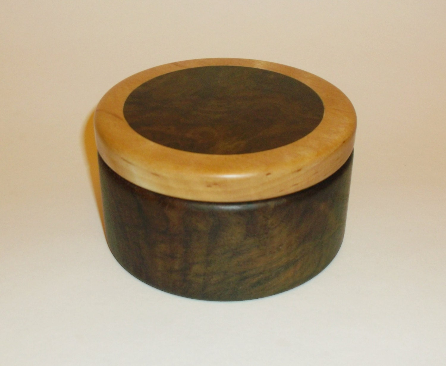Wooden box exotic wood round box for small by for Circular wooden box