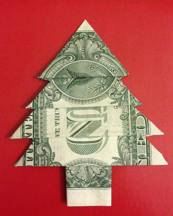 Dollar Bill Origami Christmas Tree: Items Similar To One Dollar Bill Money Origami Christmas
