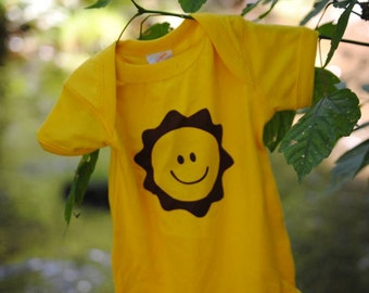 Sunshine Smiley Face Onesie or Toddler T Shirt - Printed with Water Based Ink