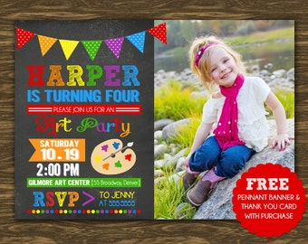 Chalkboard Art Birthday Invitation - Printable - FREE pennant banner and thank you card with purchase