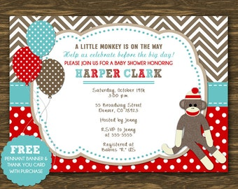 Sock Monkey Baby Shower Invitation - Printable - Free Pennant Banner and Thank You Card