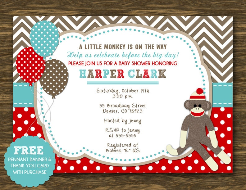 sock monkey baby shower invitation printable free pennant