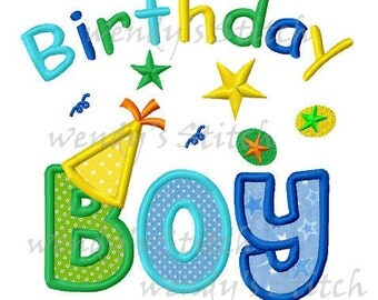 Birthday boy applique design machine embroidery digital pattern