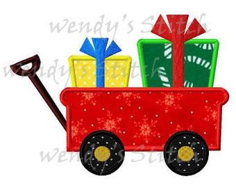 Christmas gift boxes wagon applique machine embroidery design