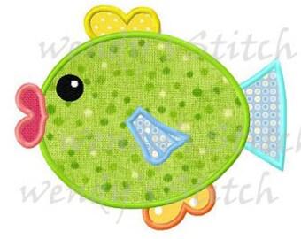 Fish applique machine embroidery design digital pattern